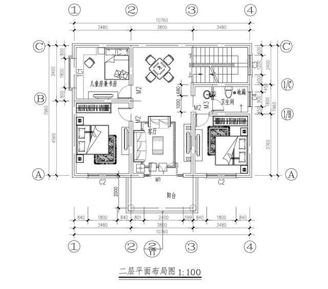 10米面宽 2层农村自建房 含建筑施工全套图纸 -屋顶平面图