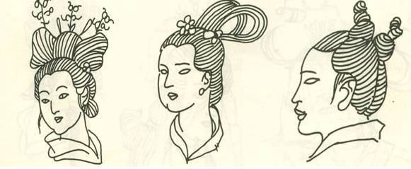 ▼ 汉代女子高髻插步摇发式 汉代妇人双环灵蛇髻发式 汉代士人双丫髻图片