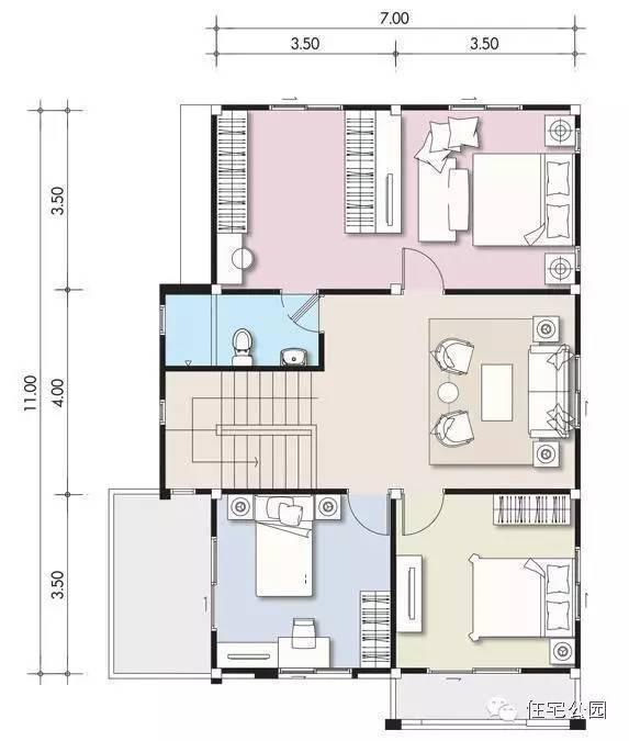 新农村自建房 9米x11米 带双车库 含平面图
