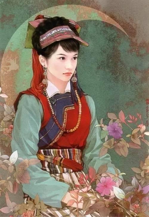 云南25个少数民族手绘美女