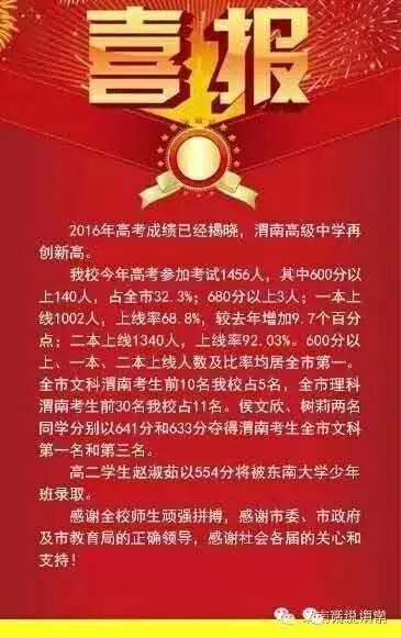 2016 渭南各县市中学喜报连连!