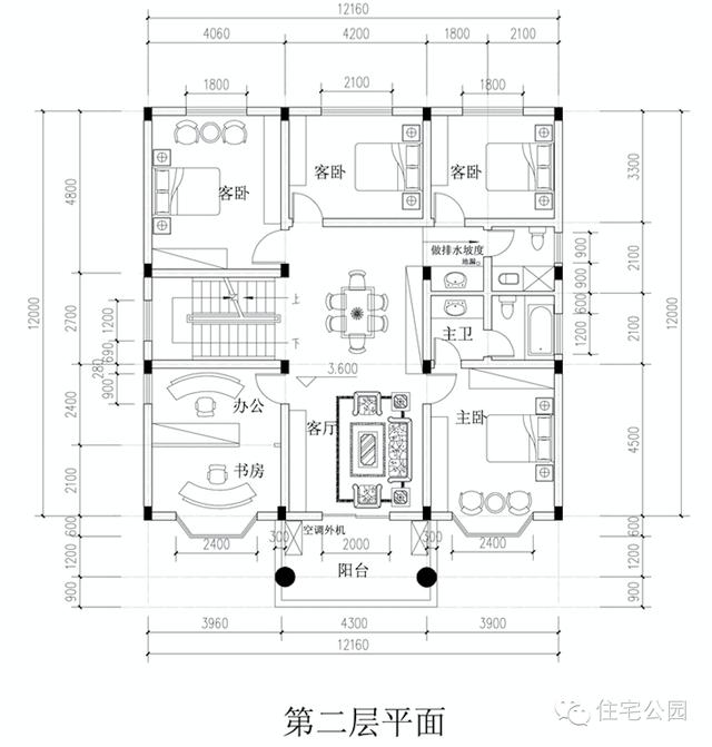 新农村自建房3层户型 12米x14米 堂屋神位平面图图片