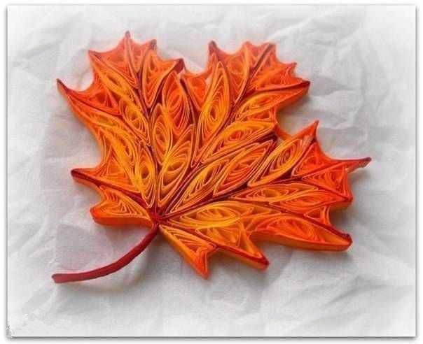 漂亮的枫叶衍纸手工制作教程图解图片