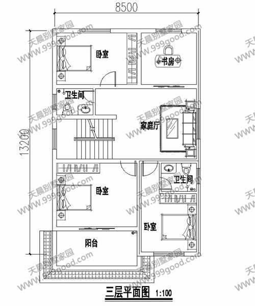 方正型农村小别墅,8x13米三层高,占地经济,楼顶大露台,屋内车库,整个图片