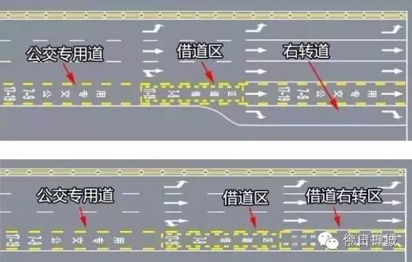 车辆需要进入主道或者借道右转驶出,请使用借道区