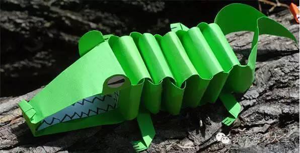步骤1: 把一张A4纸竖着分成8等份,把分成的8个等份,再按照以下份量划分身体各部位  上图的各部位分别是(从左往右):头,尾巴,2只脚,眼睛,其余的10个都是用来做身体 步骤2: 首先用身体的10节卷状造成环环相扣,如下图所示:  步骤3: 鳄鱼的尾巴制作就是利用上图鳄鱼尾巴的纸和身体连接,然后剪出尾巴的形状。  : 步骤4: 嘴巴的部分,按照下图所示,另外和身体叠好后,记得把嘴巴的前端折一下,凸显出鳄鱼的头部结构  步骤5: 制作眼睛的话,我们只要在眼睛的那张纸上剪出2个半圆并且画出眼睛就可以了
