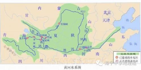 干流流经主要地形区:青藏高原,内蒙古高原,黄土高原,华北平原; 4.