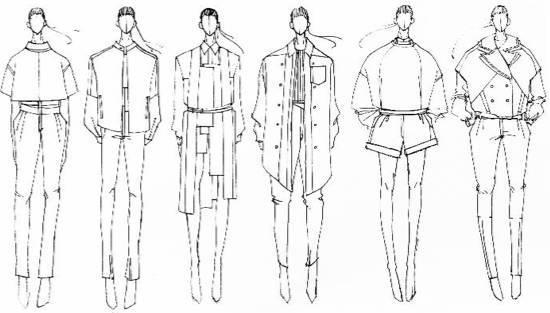 x型服装廓形手绘