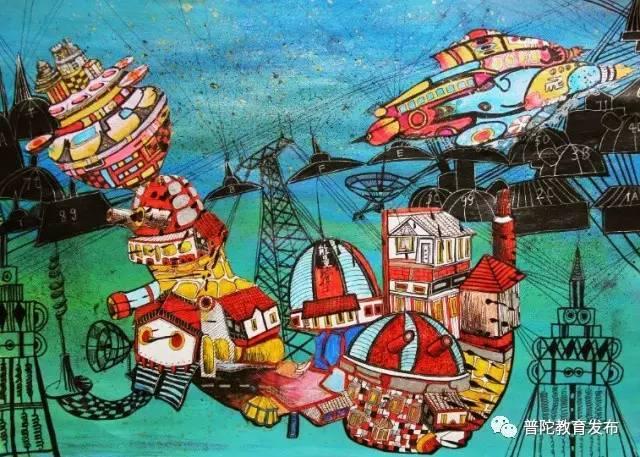 舟山市六横中心小学,获得第28届浙江省青少年科技创新大赛少儿科幻画图片