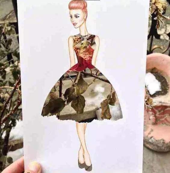 18张那些令人惊艳的服装设计手稿,亮点使用的布料图片