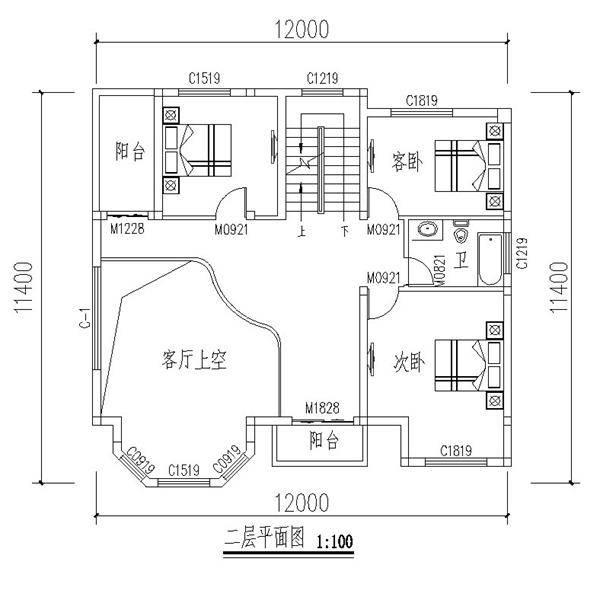 4x12米农村自建房设计图,户型方正布局好!