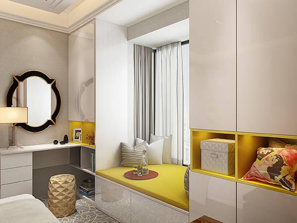 电视柜,梳妆台,u型飘窗柜一体化设计,完美利用卧室转角和飘窗空间,大图片