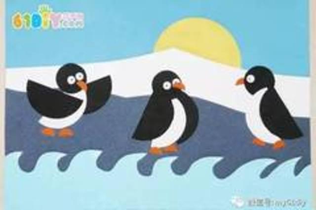 儿童手工制作小企鹅拼贴画