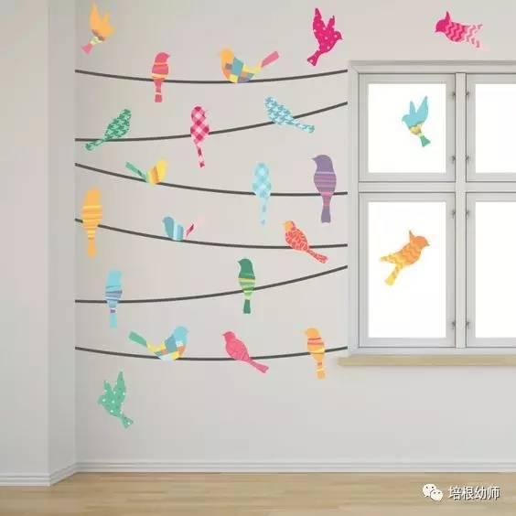 所需材料:卡纸,彩色胶带,胶水等 运用各种几何图形,在墙面上贴出有美图片