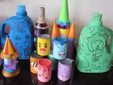 幼儿园废旧瓶子创意手工环创布置,美极了!图片
