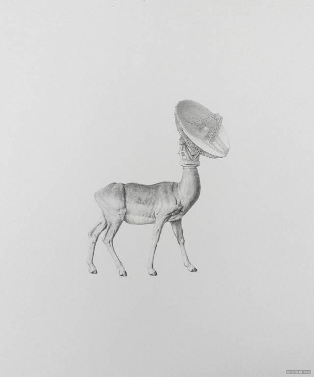 创意无敌动物组合,黑白素描平面插画设计图片