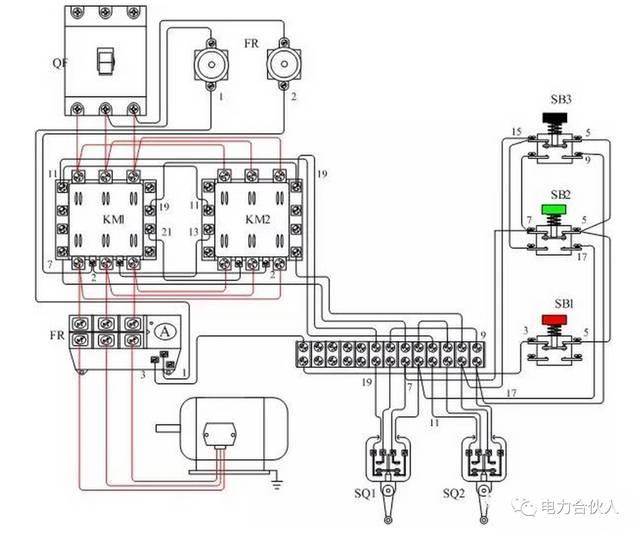 弹簧 3.压缩弹簧4.动断触点 5.动合触点 行程开关接线图