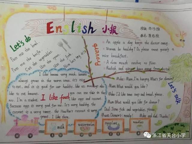 天台小学第8届英语节系列活动之四年级英语手抄报,五六年级英语海报图片
