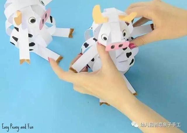 幼儿园亲子手工之立体卡纸动物:乌龟,小猪,小牛