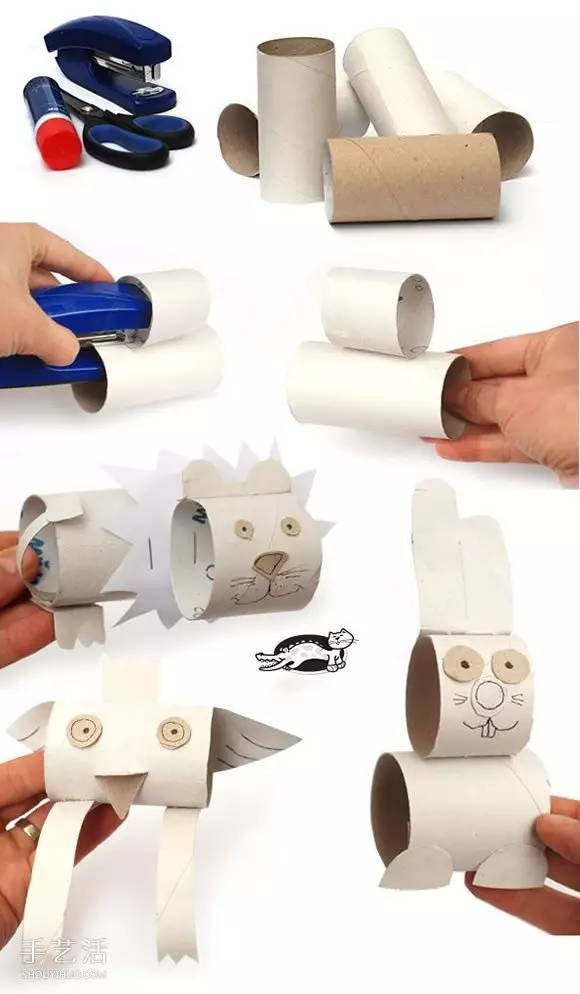 卷纸筒手工制作小动物