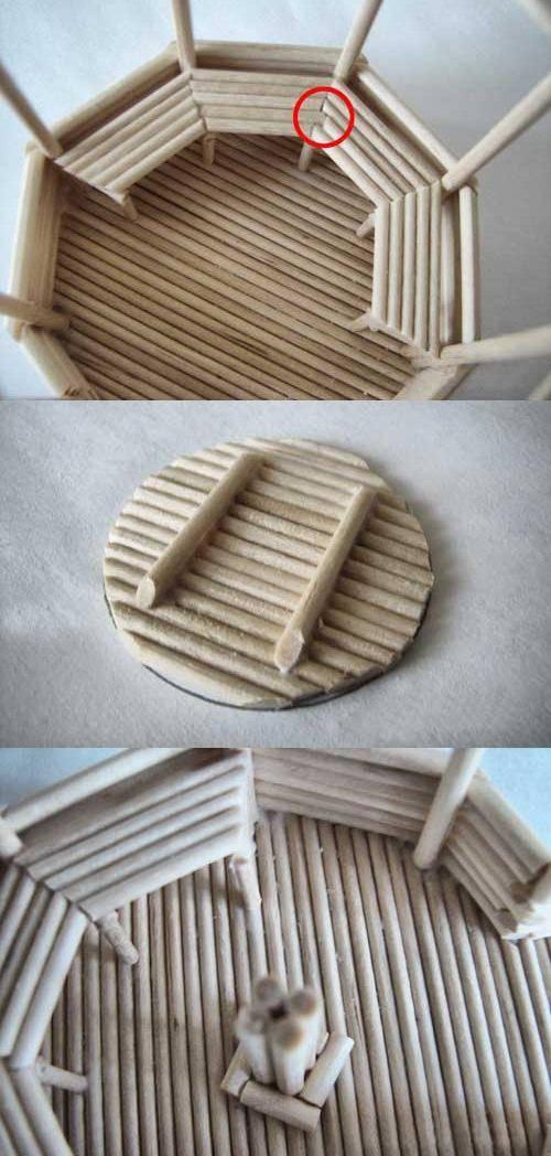利用废旧木块制作精美小凉亭,手工制作方法教程图片
