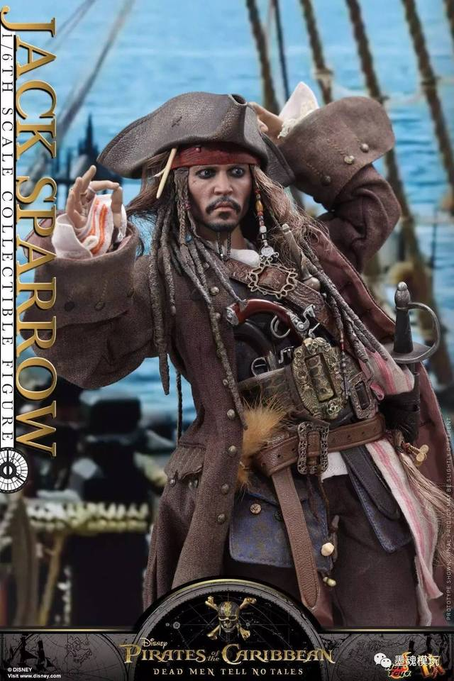 hottoys 新品:1/6 dx15《加勒比海盗5:死无对证》 - 杰克船长 jack sp