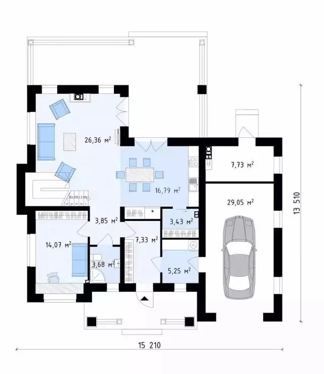 15米x13米欧式风格二层带车库自建房农村别墅图片