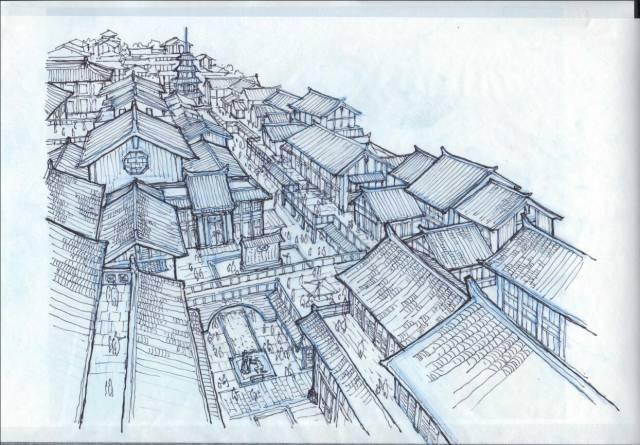 邯郸勒泰中心建筑设计手绘稿图片