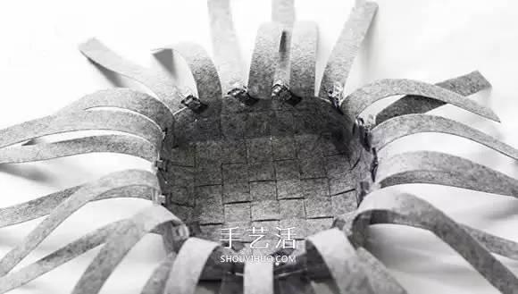 布艺手工  家居布艺  布条编织收纳篮图解 布艺收纳篮的编织方法(2)