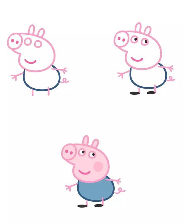 小猪佩奇黑白简笔画-如何画好小猪佩奇一家