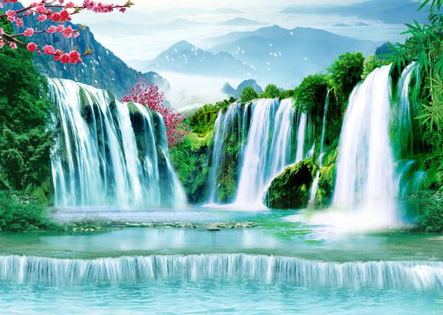 壁纸 风景 国画 旅游 瀑布 山水 桌面 640_456