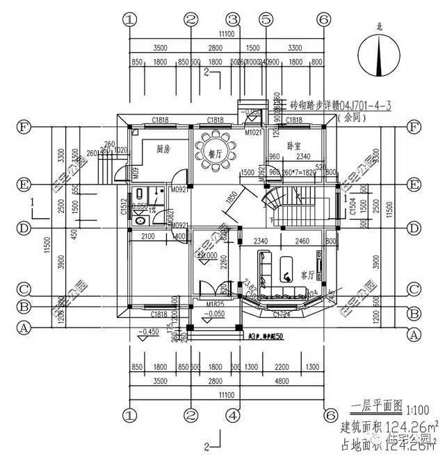100的1层平面图;指北针的方向说明房屋的朝向坐北朝南;代表构造柱位置