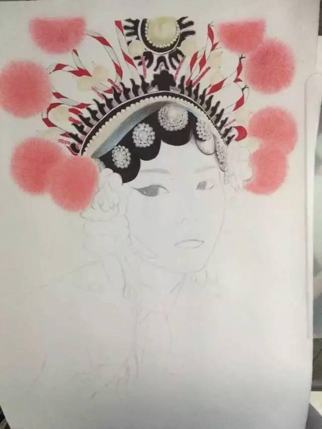 彩铅人物画:花旦人物手绘步骤欣赏