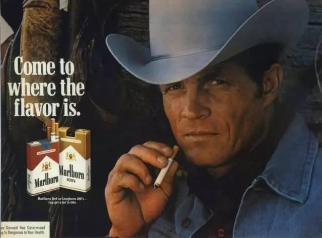 用西部牛仔做形象的万宝路香烟