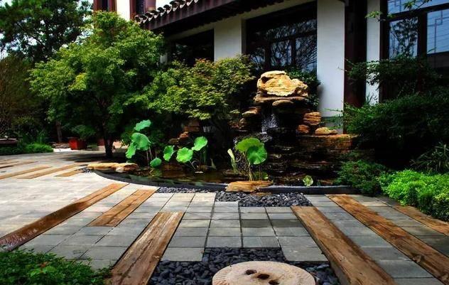 7个别墅庭院假山鱼池造景设计实景案例图片