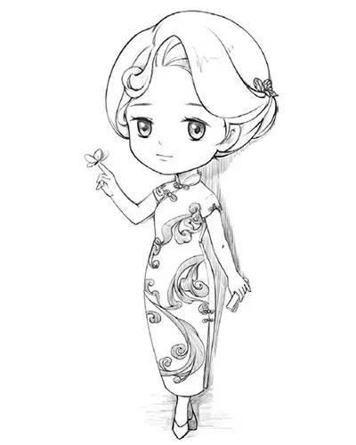 q版教程:教你画一个穿旗袍的性感小姐姐