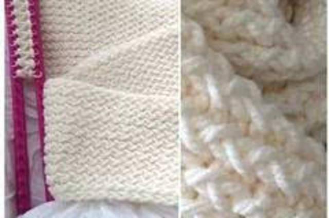 ——围巾的织法图解—— 靓丽有动感的流苏围巾,黄色与橙色细线编织