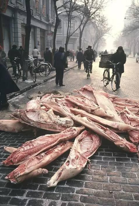 1981年,青岛黑龙江省哈尔滨市,肉店刚到货的猪肉中国v肉店林图片糕点图片