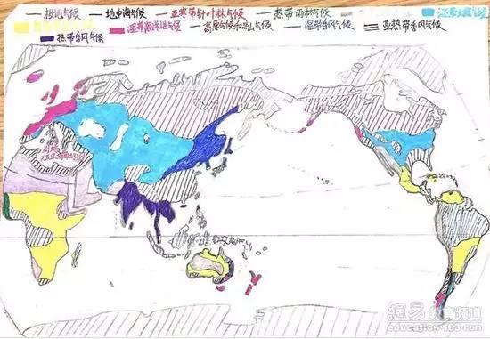 手绘世界气候分布图,堪比美术生