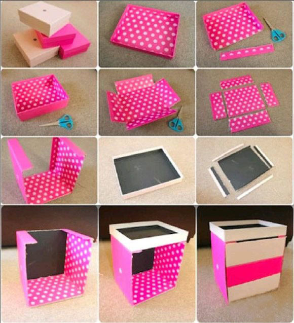 多余纸盒废物利用 diy手工制作带抽屉收纳盒