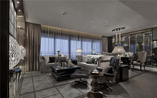 200m2; 平层 后现代风格 装修样板间——客厅