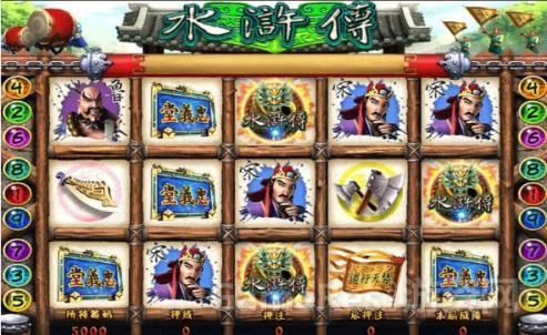 9线式(3*5玩法)的经典游戏《水浒传》: 上图为经典跑灯式老虎机