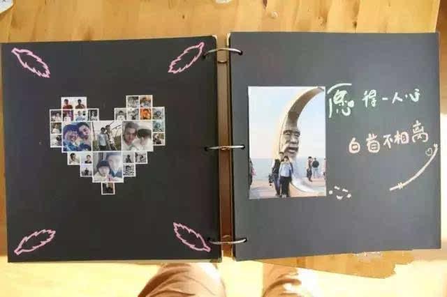 第三步:接下来就是只做了,把冲洗好的5寸照片,制作diy相册设计手绘图图片
