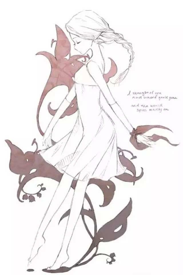 动漫少女手绘线稿