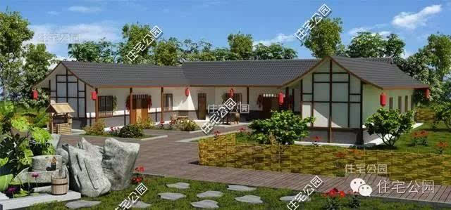 北方农村自建房最常见的就是直排平房加小院的模式,绝大多数农村家庭图片