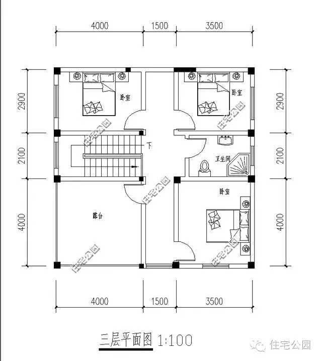 4x12米,建筑面积360平方米,户型较为方正,南北通透,居住舒适.图片