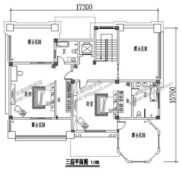 7x17.3米豪华三层别墅设计图