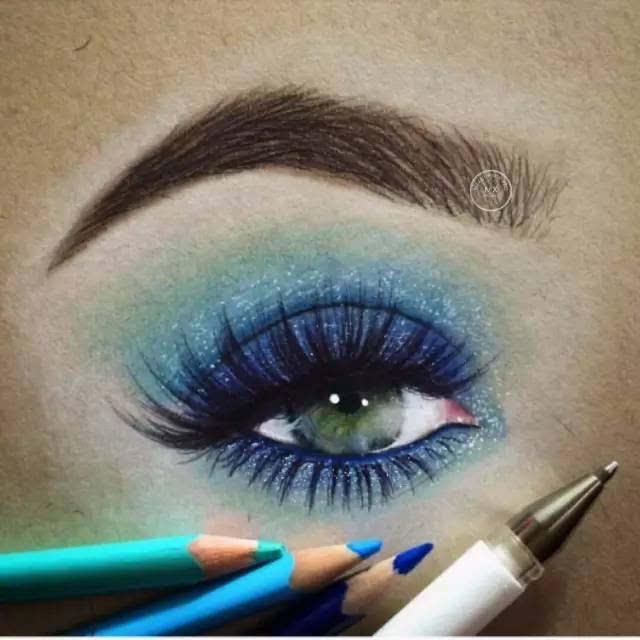 这才是大师 太逼真了 手绘眼妆效果图