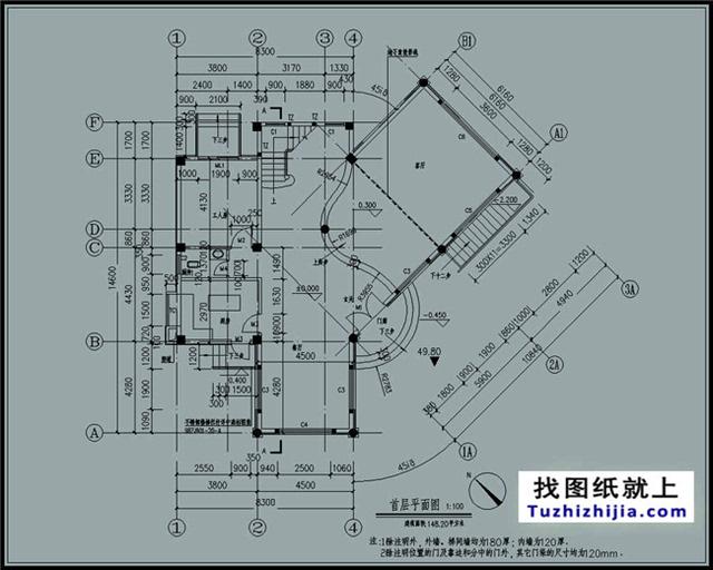 图纸预览图及简介:[仅是局部效果预览,详细内容及整套图纸请下载附件查看] 建筑占地面积:8.3*14.6; 占地面积:148.2平方米【图纸尺寸可根据实际情况修改】 建筑面积:395平方米 建筑层数:三层; 建筑高度:12.6米(含屋顶)坡屋顶; 建筑结构:框架结构; 设计功能: 一层:餐厅、厨房、卫生间、玄关、门廊、工人房、客厅; 二层:客厅上空、起居室、露台、阳台、2间衣帽间、2间卧室、2间卫生间 三层:阳台、2间卧室、3间衣帽间、3间卫生间、露台; 图纸目录: 别墅图片大全、总平面图、轴立面图、轴