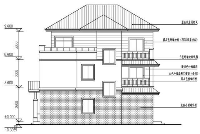 农村3层自建房户型,3开间10.8X11.7米,含平面图